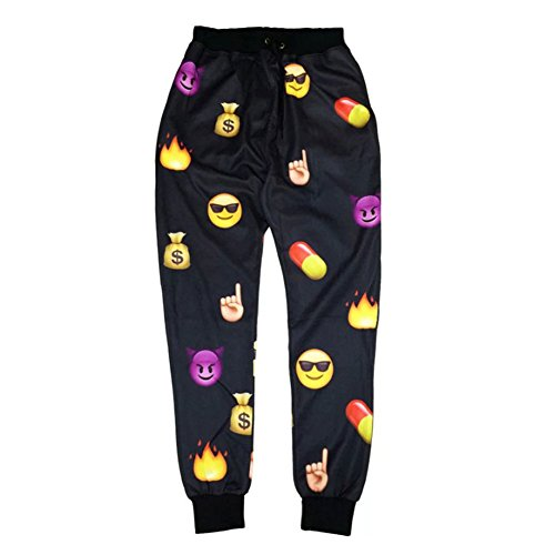 Emoji Black 3D Pants Funny Cartoon Sweatpants Joggers Sportswear Female Clothes (S) front-20904