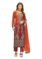 Namrah Collection Womens Georgette Resham Salwar Suit Dress Material (1019_Red)