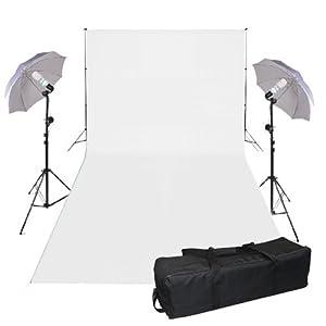 Kit éclairage continue photo studio--125W kit ampoule continue *2,Support de fond et kit d'éclairage,inclus toile de fond blanc et sac de transport