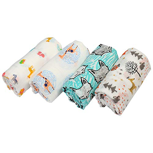 Muslin Swaddle Blankets for Newborn - 100% Cotton Durable, Unisex, Soft, Lightweight, Super Comfortable & Soft Swaddle Wrap I Set of 4 Large I Baby Shower Gifts for Girls