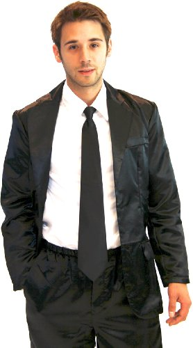 How I Met Your Mother Black Silk Pajama Suit with White Shirt (Black) (Mens X-Large)