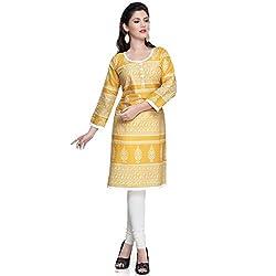 Janasya women's Colour-Yellow printed kurtis