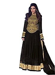 Priyanshu Creation Women's Net Black Dress Material