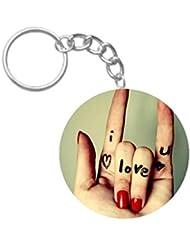 I Love You | ShopTwiz Printed Circle Key Ring - B01GZOO4HO
