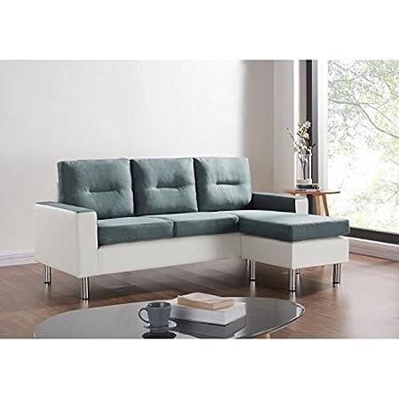 Elena Sofá de esquina reversible y modulable de imitación de piel y tela 3 plazas-Puf 130 x 193 x 85 cm, color gris y blanco