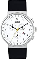 Braun - BN0035WHBKG - Montre Homme - Quartz Analogique - Chronographe - Bracelet Cuir Noir