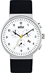 Braun Men's BN0035WHBKG Classic Chronograph Analog Display Quartz Black - White Dial with Black Band