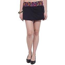 TUNTUK Women's Reversible Skirt Black Cotton Skirt