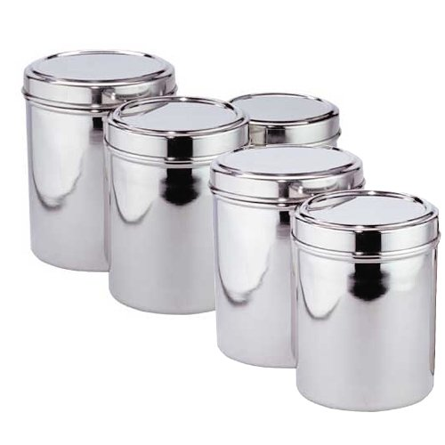 New Easy Clean Kitchen Stainless Steel 5 Piece Canister