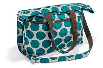 Thirty One Retro Metro Fold Over Teal Mod Dot front-35156