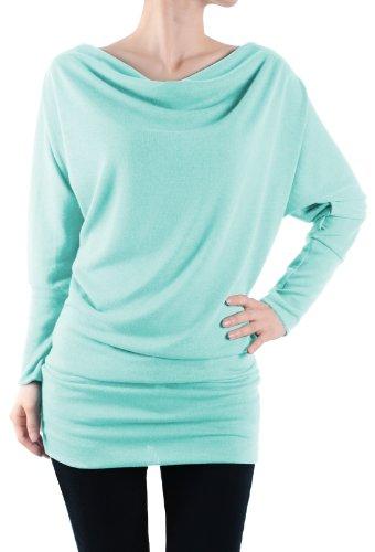 Leggingsqueen Long Sleeve Fashion Basic Tunic Top (Mint, X-Large)