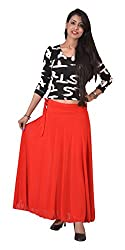Ace Women's Crepe Georgette Long Skirt (Ace-209_Black_Free Size)