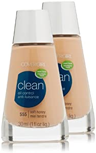 CoverGirl Clean Oil Control Liquid Makeup, Soft Honey (W) 555, 1.0-Ounce Bottles (Pack of 2)