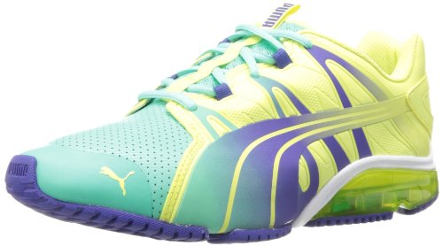 PUMA Women's PowerTech Voltaic DipDye Running Shoe,Electric Green/Sunny Lime/Spectrum Blue,10 B US