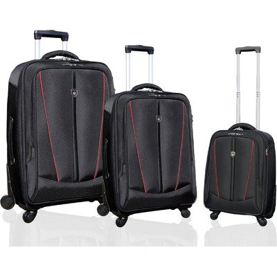 "Silhouette Collection- 3 Piece ""Heavy-Duty"" Luggage Set with 360? 4-Wheel System in Black with Red Trim top price"