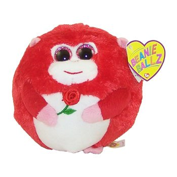 Ty Beanie Ballz In Love Monkey With Rose Plush front-484106