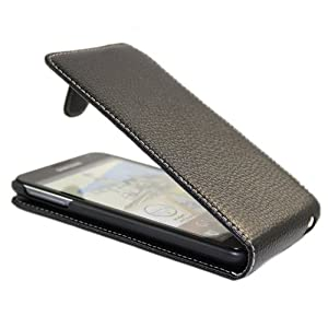 iTALKonline PREMIUM LEATHER BLACK Clip On Flip Case/Cover/Pouch with LCD Screen Guard Protector For Samsung N7000 Galaxy Note