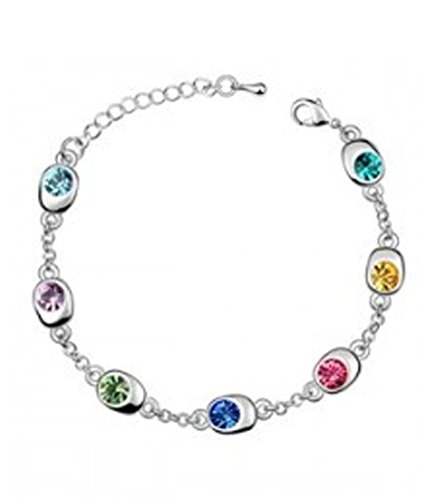 Generic plaqu argent cristal multicolore bracelet fantaisie porte bonheur pour les femmes - Bijoux porte bonheur pour femme ...