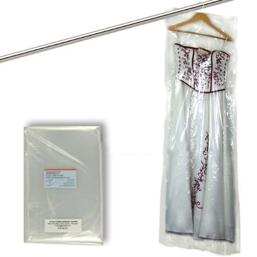 Hangerworld Pack of 50 Clear Polythene Garment Dress Pants Garment Clothes Cover Bags - 60