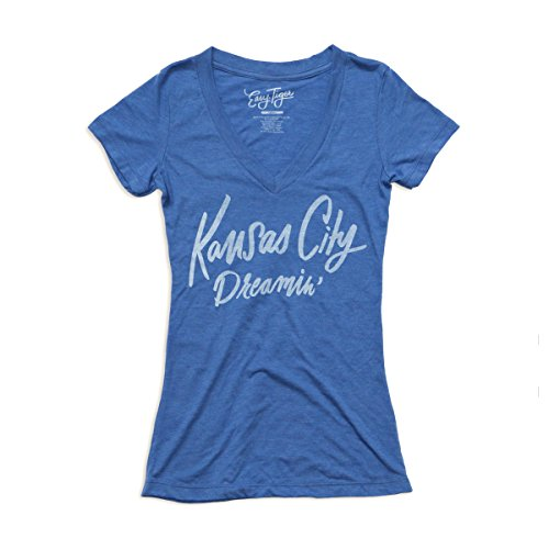 Easy, Tiger Women's Fit T-Shirt (X-Large, KC Dreamin, Blue V-neck) (Things That Start With The Letter V)