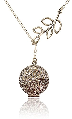 Aromatherapy-Necklace-Essential-Oil-Diffuser-Locket-Pendant-Jewelry-Silver-tone-Filigree-Unique-Tree-Branch-Drop-Lariat-Y-Style-wreusable-felt-pads