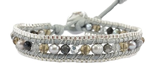 Gray Pearl Agate & Crystal Leather Wrap Bracelet , Single Wrap, 4mm/bead