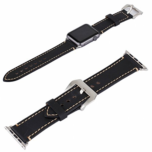 Apple Watch Band, 42mm iWatch Band Strap Premium Vintage Genuine Leather Replacement Watchband with Secure Metal Clasp Buckle for Apple Watch Sport Edition 5