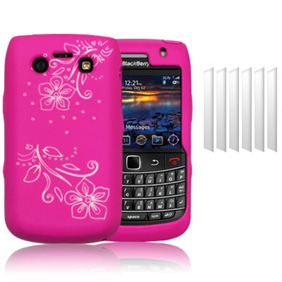 BLACKBERRY BOLD 9780 FLOWER SILICONE SKIN CASE WHITE PINK - WITH 6-IN-1