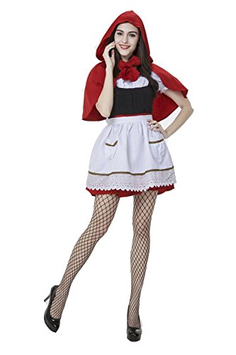 [Absolutly Perfect Women Sexy Little Red Riding Hood Halloween Costume Dress White X-Large] (Ladybug Costume Makeup)