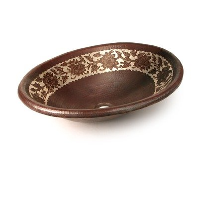Silver Etched Floral Oval Copper Undermount Sink Edge: Rolled