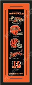 Heritage Banner Of Cincinnati Bengals With Team Color Double Matting-Framed Awesome... by Art and More, Davenport, IA