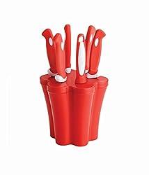 Soft Greep Knife & Peeler Set With Stand - 6 Pcs