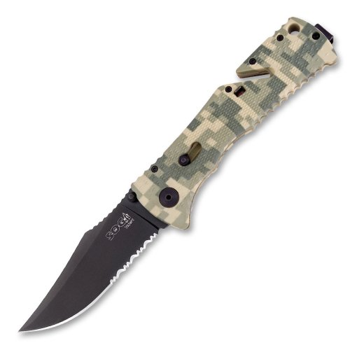 Sog Specialty Knives & Tools Tf10-Cp Trident Knife With Part-Serrated Assisted Folding 3.75-Inch Steel Blade And Grn Camo Handle, Black Tini Finish front-791159