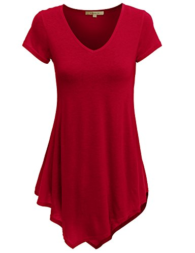 Doublju Women Stylish Unbalanced Hemline Short Sleeve Tunic Top RED,M