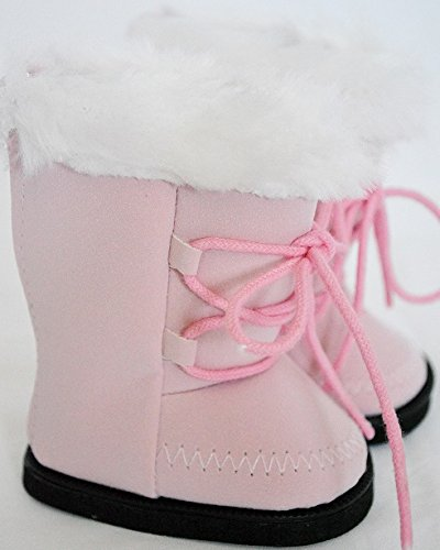 PINK SUEDE BOOTS WITH WHITE FUR TRIM FOR AMERICAN GIRL DOLLS