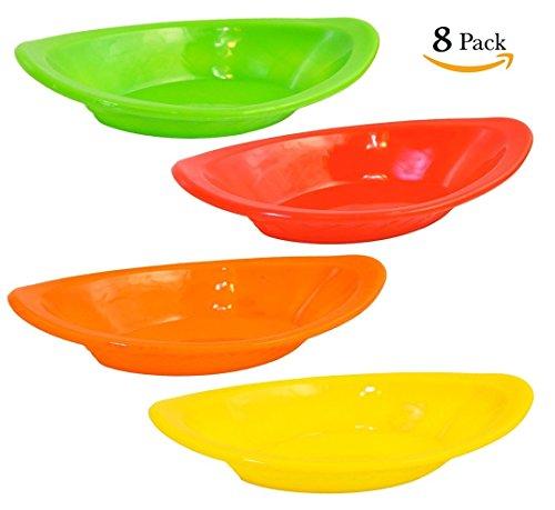 Set of 8 - Plastic Banana Split Dish, Ice Cream Sundae Plate, Party Dessert Serving Bowl