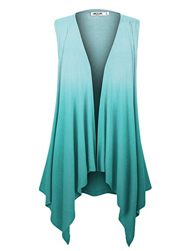 LL WSK1095 Womens Lightweight Sleeveless Ombre Open Front Cardigan Vest XL TEAL