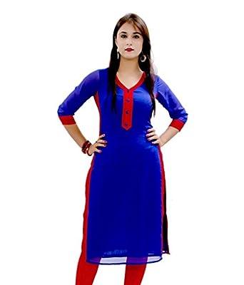 Varibha Women's Cotton Kurti (IOKU00002AAA_Blue_Free Size Altrable Till 42 or XL)