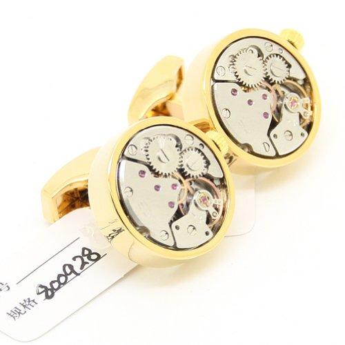 """Handmade DrehbewegungGold runden Klassiker Uhrwerk Uhrwerk Manschettenkn?pfe ( Breite: 0.79 """" L?nge: 0.79"""" )"""