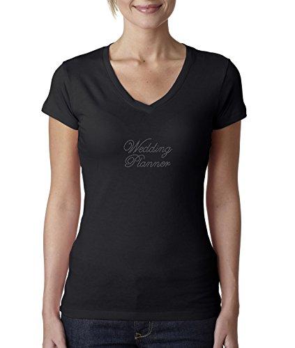 Ladies Wedding Planner Rhinestone T Shirt V Neck Womens Short Sleeves top 1123