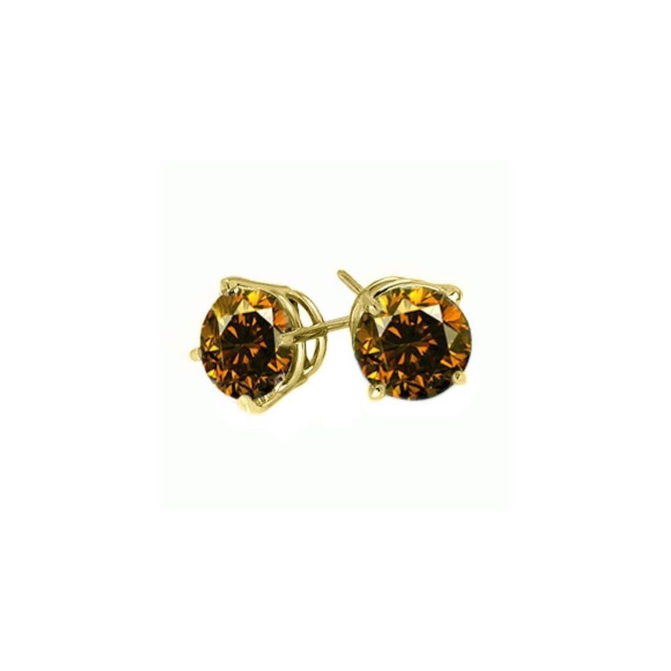 .25 Carat Brilliant Round Cognac Brown Diamond Stud Earrings SI2