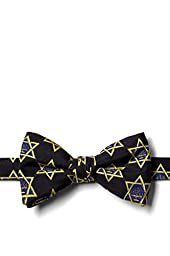 Hanukkah Menorah And Star Black Silk Pre-Tied Bow Tie