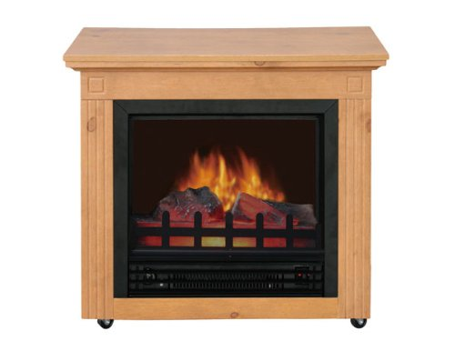 Comfort Glow EF5701 Cambria Electric Mobile Fireplace withThermostat, Country Oak Finish, Compact