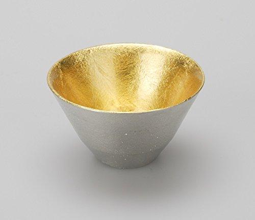 ぐい呑み 盃 おちょこ 能作 すず 100% ゴールド 金箔 (喜器 Ⅱ 40cc, ゴールド)