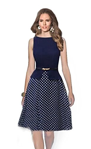 Babyonline-Womens-Polka-Dots-False-Two-Pieces-Wear-to-Work-A-line-Party-Dress