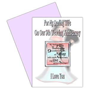 9th Wedding Anniversary Gift Ideas Uk : Wife 9th Wedding Anniversary Card With Removable Magnet Gift - 9 Years ...