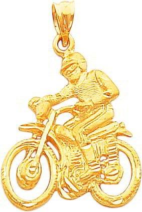 14K Gold Dirt Bike & Rider Pendant