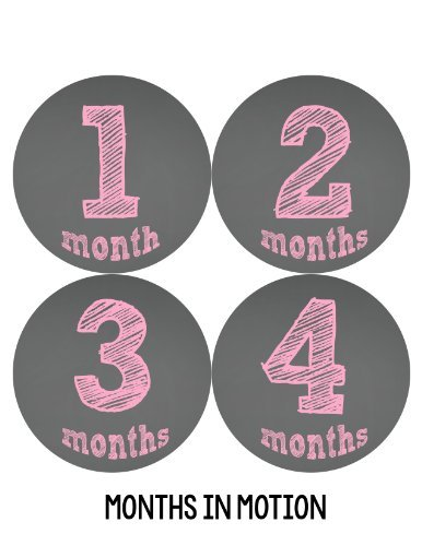 Months in Motion 124 Monthly Baby Stickers Baby Girl Chalkboard Milestone Age