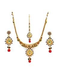 Bindhani gold plated kundan jewellery set-DE1060
