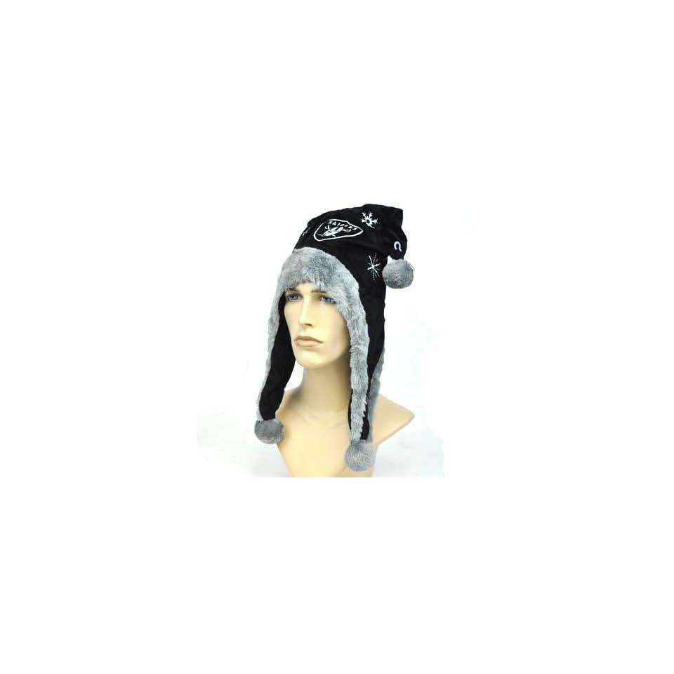 NFL Oakland Raiders Velvet Jester Pom Ball Winter Hat Black Gray Velour  Faux Fur f05000d38e1b